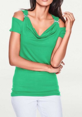 Waterfall shirt with strass, green