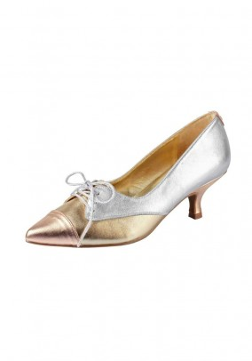 Leather pumps with laces, silver-gold coloured