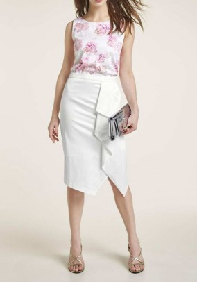 Satin skirt with flounces, offwhite