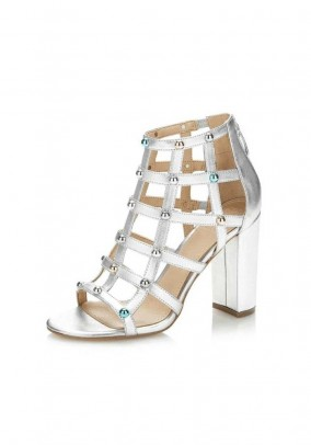 Sandal with rivets, silver coloured