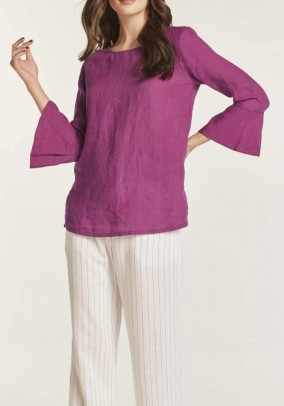 Linen blouse with flounces, cyclam