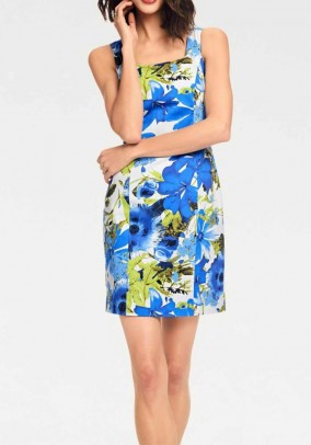 Mėlyna suknelė su gėlių motyvais