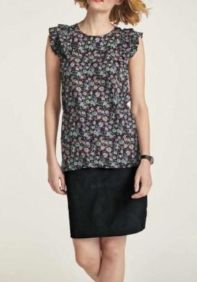 Print blouse with flounces, black-multicolour