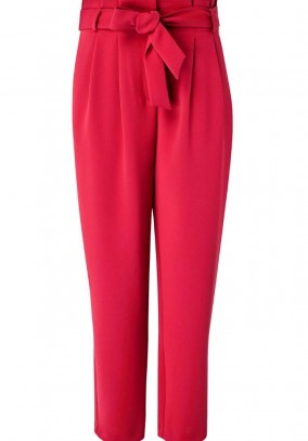 Crease trousers with belt, red
