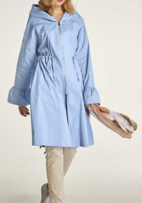 Coat with flounces, light blue