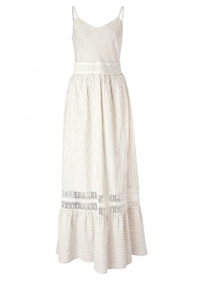 Maxe dress with lace, beige