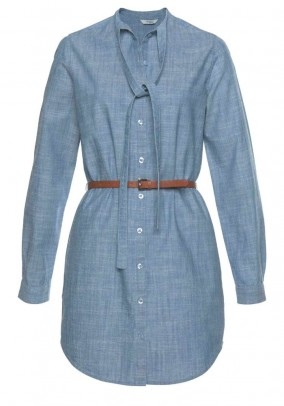 Denim dress with belt, denim blue