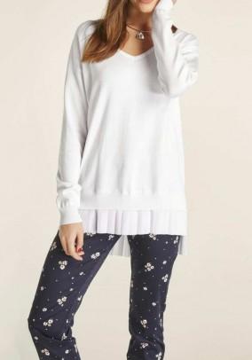 Ilgas baltas oversize megztinis