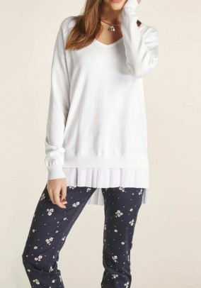 Two-in-one sweater, white