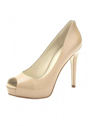 Peep toe pumps, powder