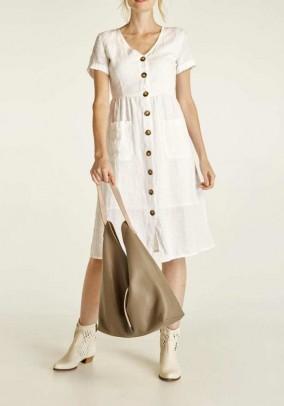 Balta lininė suknelė