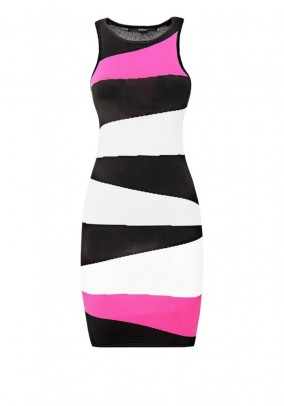 Branded fine knit dress, black-pink