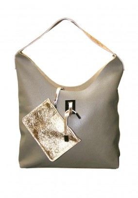 Leather bag with beauty bag, taupe-copper