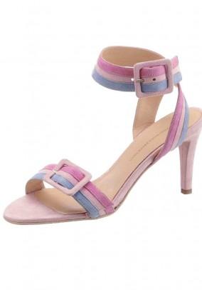 Velour sandal, rose-blue