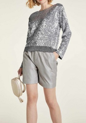 Leather shorts, metalic-grey