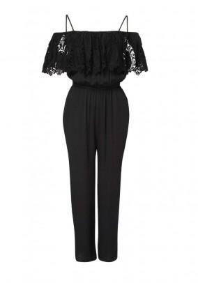 Jumpsuit with lace, black