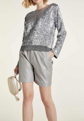 Blizgantis sidabrinis megztinis