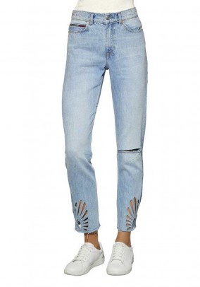 Jeans with cut-outs, blue, 32inch