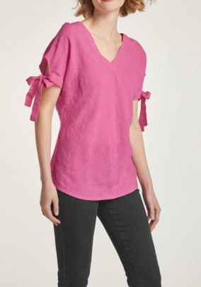 Linen blouse, raspberry