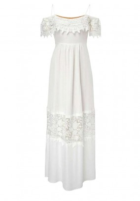 Maxi dress with lace, offwhite