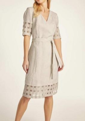 Rusva lininė suknelė