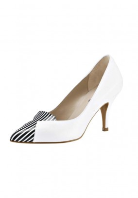 Leather pumps, white-navy