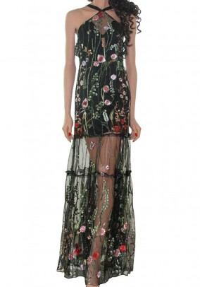 Maxi dress with embroidery, black-multicolour