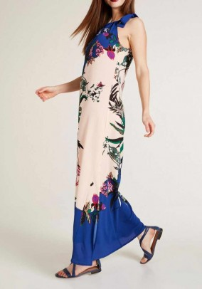 Ilga mėlyna margaspalvė suknelė