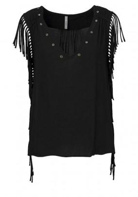 Shirt with fringes, black