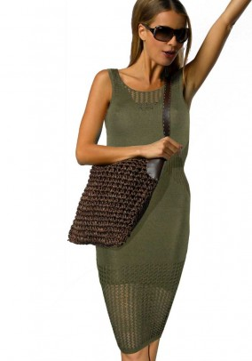 Knit dress, olive green