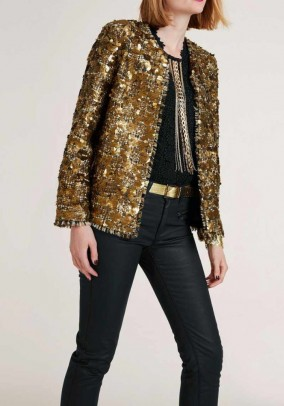 Blazer with sequins, gold coloured