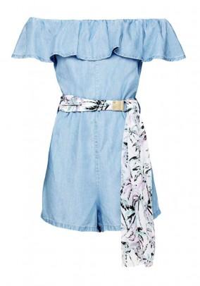 Jump suit with belt, sky blue