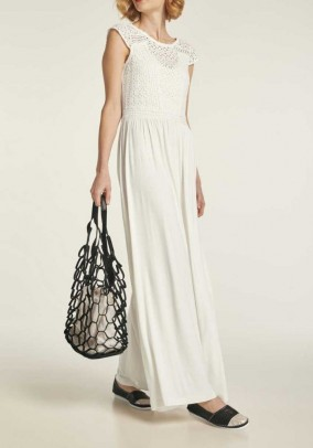 Jersey dress with lace, offwhite