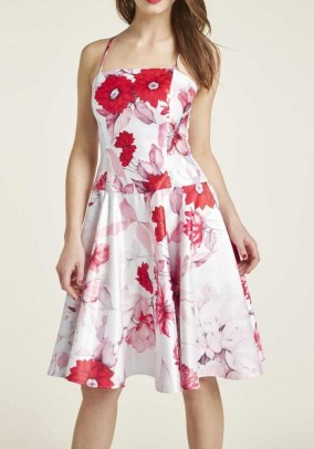 Corsage dress, white-red