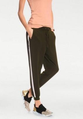 Leisure pants, khaki-white