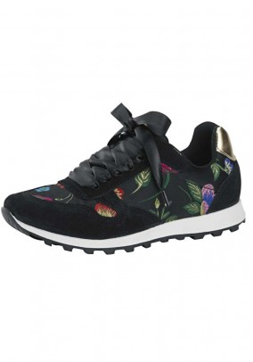Sneaker with embroidery, black-multicolour