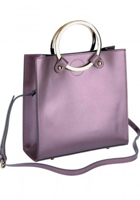 Leather bag with beauty bag, eggplant