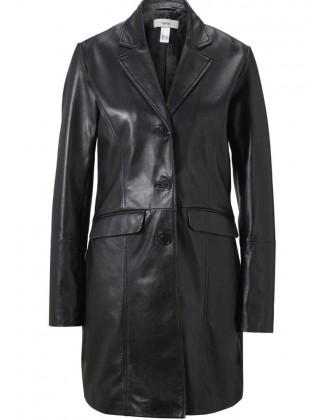 Juodas natūralios odos paltas