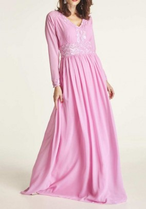 Evening gown with sequins, pink