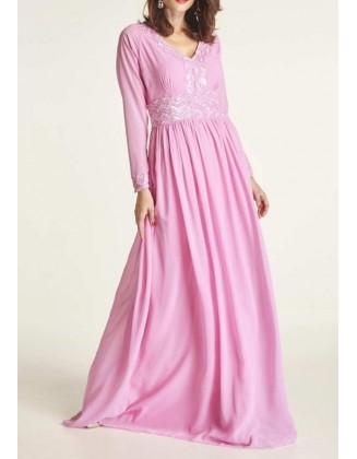 Ilga rožinė vakarinė suknelė