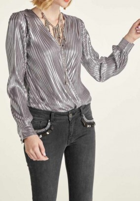 Blouse bodice, silver coloured
