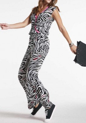 Jersey jumpsuit, black-white