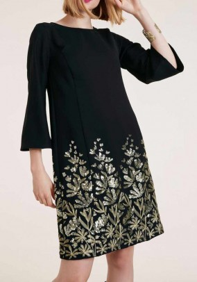 Dress with sequins, black-gold coloured