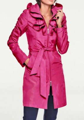 Trench coat w. Ruffles, pink