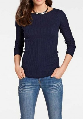Silky ribknit sweater, navy