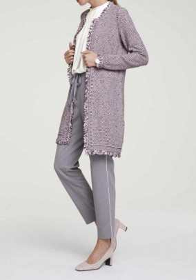 Knit coat with fringes, multicolour
