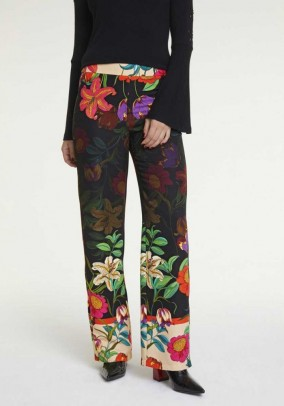 Printed trousers, multicolour