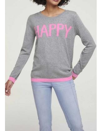 """Pilkas megztinis su kašmyru """"Happy"""""""