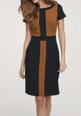 Jersey dress, black-brown