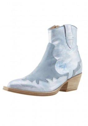 Leather boots, light blue-metalic